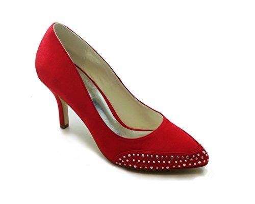 Minishion Womens Stiletto High Heel Satin Evening Party Bridal Wedding Sparkle Shoes Pumps Red-8cm Heel OiDM9A8xj