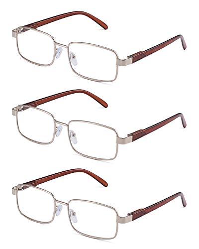 JM Metal Frame Spring Hinge Reading Glasses 3 Pairs Vintage Metal Readers Men +2.5 Gold
