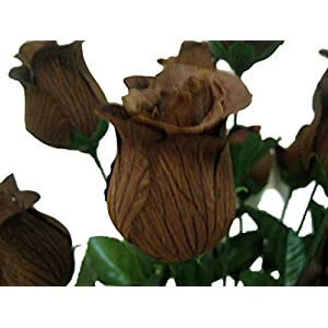 """2 Bushes Chocolate Rose Buds 28 Artificial Silk Flowers 17"""" Bouquet 643CHO 114"""