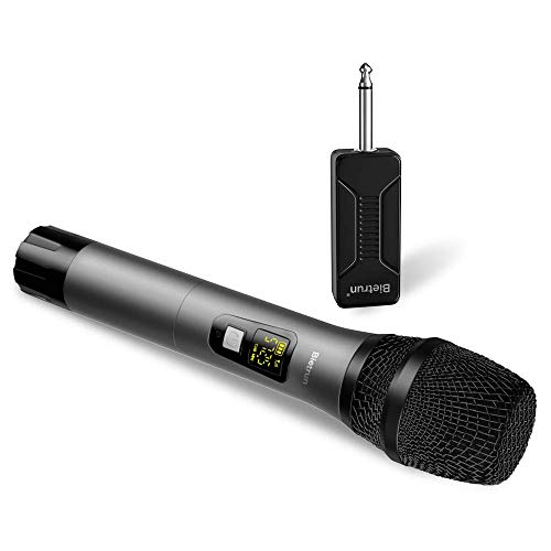 Wireless Microphone, UHF Handheld Dynamic Karaoke Microphone System with Rechargeable Receiver, 260ft Range, 1/4'' Plug, for Speakers, DJ, Amplifier, PA System, Singing Machine, Mixer (Metal) (For Mic Pa Wireless)