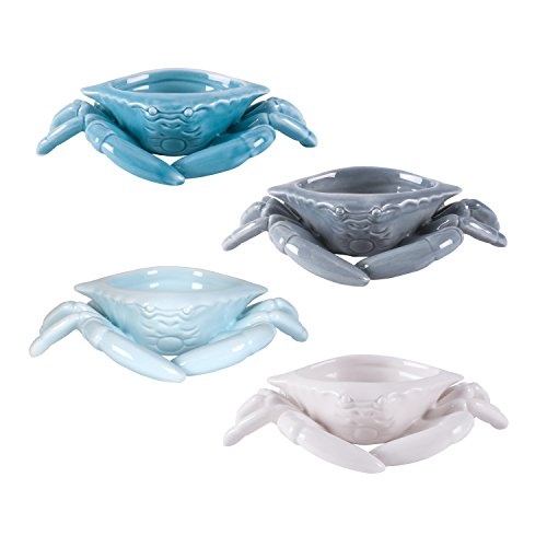 - Cape Coral Collection, Assorted Crab Butter Dishes (Set of 4), White