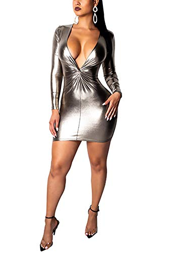Women Sexy Party Dress - Long Sleeve Deep V Neck Bodycon Shiny Wet Look Mini Club Outfit Sliver -