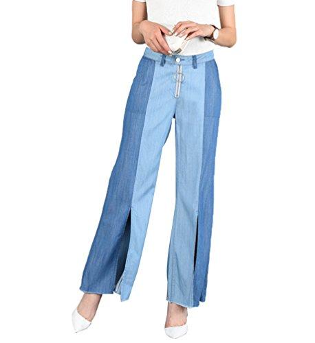 Tookang Femme Casual Grande Taille Pantalons en Deni Jambe Divis Confortable Bootcut Jean Evase Jambe Large avec No Stretch Bleu