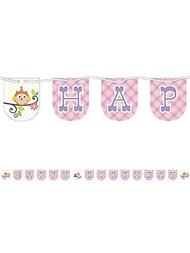 Creative Converting Happi Woodland Happy Birthday Banner for Baby Girl - Birthday Party Decorations Birthday Garland, Hanging Pennant Banner with String, 7 Feet Long -