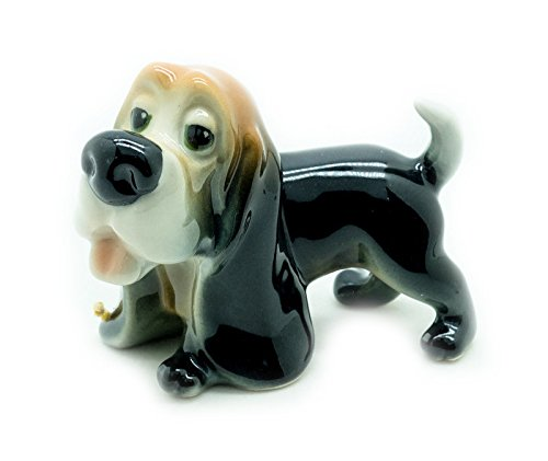 Grandroomchic Animal Miniature Handmade Porcelain Statue Basset Hound Dog Figurine Collectibles Gift