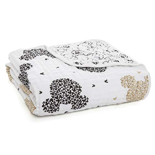- aden + anais Dream Blanket; 100% Cotton Muslin; 4 Layer Lightweight and Breathable; Large 47 X 47 inch; Mickey's 90Th - Scatter