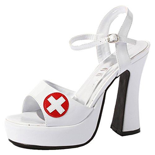 5.5 Inch Sexy Mid Platform Sandal White Shoe Chunky Heel Nurse Costume Size: 8 Colors: White -