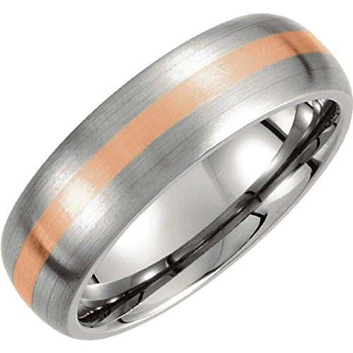 Titanium and 14k Rose Gold 7mmSatin Finished Dome Comfort Fit Band, Size 11 by The Men's Jewelry Store