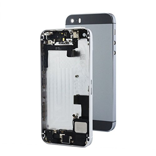 for iPhone 5S Full Housing Assembly With Logo Rear Housing Back Metal Cover Case Battery Door Complete Full Assembly with Small Parts Replacement,Grey