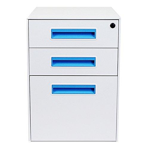 Stockpile Square Mobile File Cabinet (White/Bright Blue)
