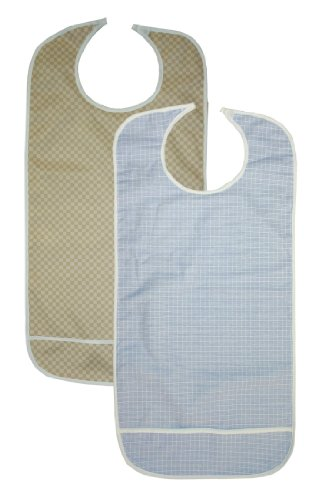 2 Pack Adult Vinyl Adult Bibs with Crumb Catcher - Gold and