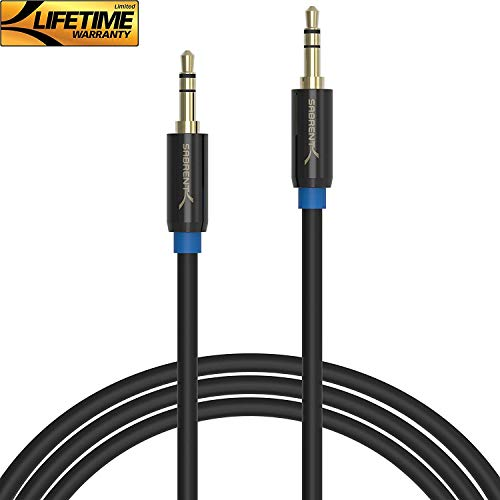 Sabrent 3.5mm Gold Plated Premium Auxiliary Male To Male AUX Cable [Step Down Design] 16 Feet (CB-AUX5)