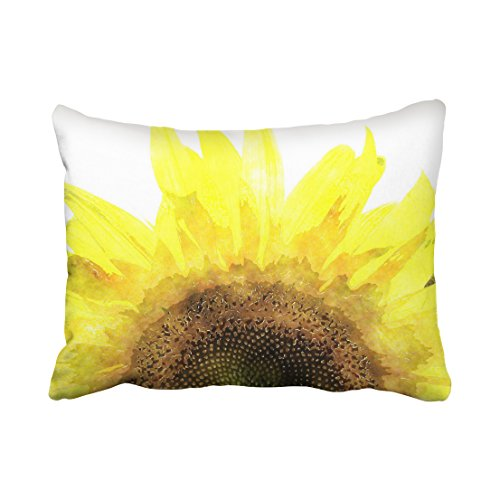 Emvency Pillowcases Modern Sunflower Watercolor Girly Yellow Pillow Cover Polyester 20 x 26 Inch Standanrd Size Rectangle Cushion Decorative Pillowcase With Hidden Zipper Home Sofa (Mid Century Modern Halloween Decorations)