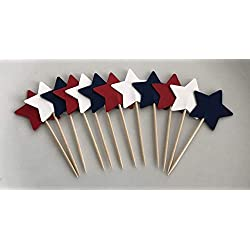 "Red White & Blue Stars Double Sided Cupcake Toppers Cake Centerpieces Party Picks 1 1/2"" Wide - 12 Pieces"