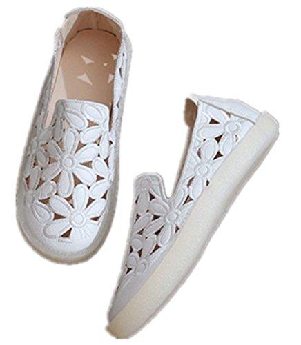 LUXIAO Hueca Fondo Zapatos Planos Mocasines de con Mujer nuevos Blanco Zapatos Casual hojaldre de Plano Cabeza Verano Suave 2018 Zapatos rqx06zwr