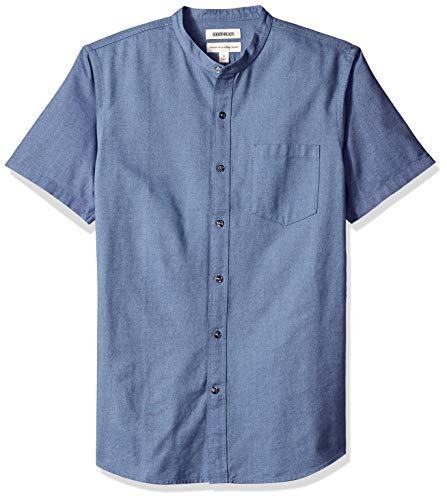 Indigo Mens Shirt - Goodthreads Men's Standard-Fit Short-Sleeve Band-Collar Oxford Shirt, -indigo, Medium