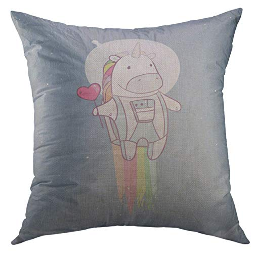 Mugod Pillow Cases Kid Space Unicorn Tasty Red Heart Shape Lollipop in Astronaut Costume Flying to The Stars Candy Throw Pillow Cover for Men Women Youth Cushion Cover 20x20 Inch ()