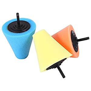 ZFE 3Pcs 1/4''/6mm Shank Sponge Cone Metal Polishing Foam Pad Wool Buffing Polishing Ball for Automotive Car Wheels Care,For Metal Aluminum,Stainless Steel,Chrome,Jewelry,Plastic,Ceramic,Glass,etc
