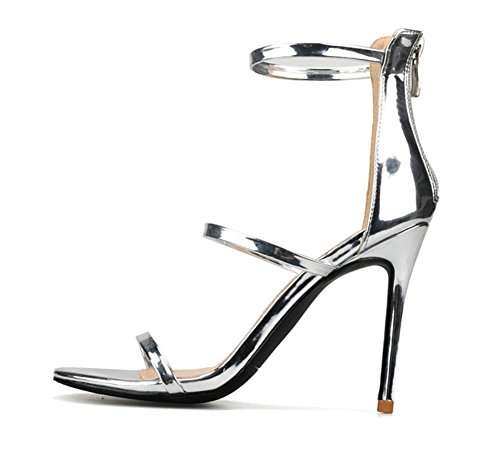 Evening Heel Sandals Peep Prom Large Ladies Stiletto Size Barely Toe ZPL Size Womens High 44 Party Strappy There 35 White Shoes EvXnw7q