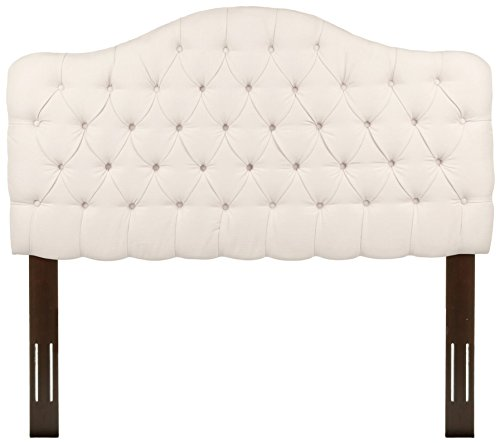 Martinique Upholstered Adjustable Headboard Panel with Solid Wood Frame and Button-Tufted Design, Ivory Finish, King / California King (Fabric Headboard King California)