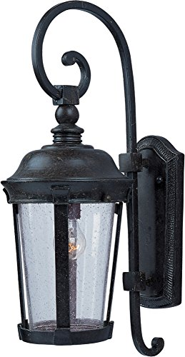 Maxim 3023CDBZ Dover Cast 1-Light Outdoor Wall Lantern, Bronze Finish, Seedy Glass, MB Incandescent Incandescent Bulb , 100W Max., Dry Safety Rating, Standard Dimmable, Glass Shade Material, 5750 Rated Lumens - Bronze Dover Wall Lantern