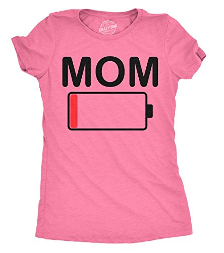 Mom Womens Pink T-shirt - Womens Mom Battery Low Funny Empty Tired Parenting Mother T Shirt (Heather Pink) - L