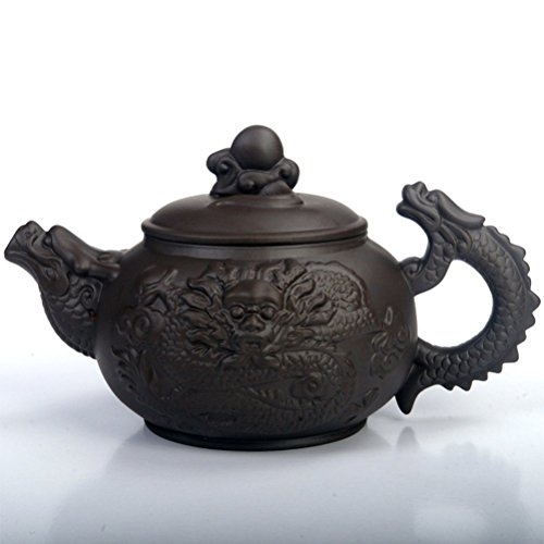 Dragon Teapot - XDOBO Chinese Tea Pot, Retro Dragon Pattern Half-handmade Top Grade Purple Clay Teapot – 380ml/ 13oz Capacity