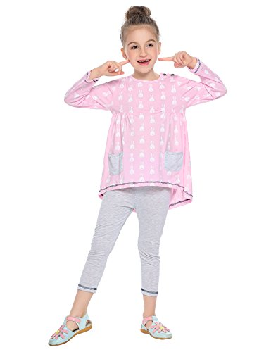 Balasha Little Girls Clothes Set Cute Bunny Girls Outfits Long Sleeve Tops and Pants Set, A-pink, 7-8 Years ()