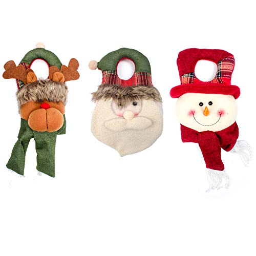 QinYing Christmas Santa Claus Snowman Reindeer Dolls Ornament Present,Wall Hanging,Door Hangers,Kitchen Hanger Decorations,Home Party Decor 3PCS