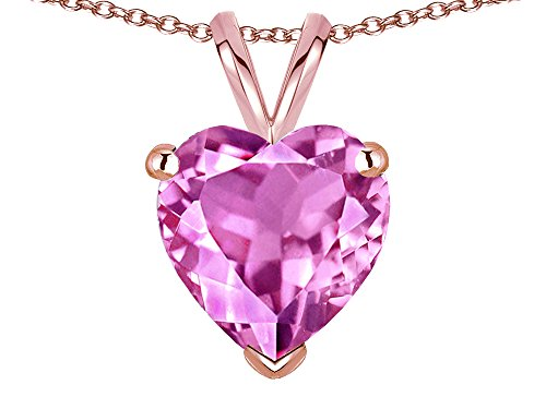 Star K Created Pink Sapphire 8mm Heart Pendant Necklace 10 kt Rose Gold