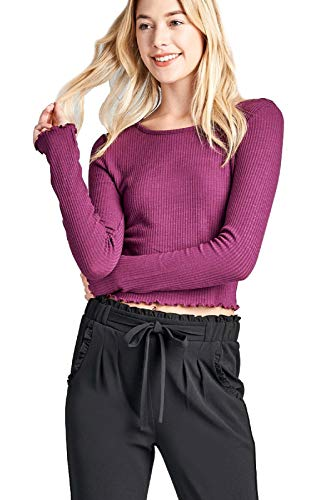 Instar Mode Women's Long Sleeves Casual Slim Tees with Lettuce Finish Edge Hem Detail Purple S ()