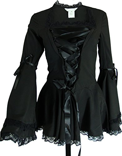 -Gothic Romance- Black Bell Sleeve Ribbon Lace Corset Victorian Steampunk Top (Small)