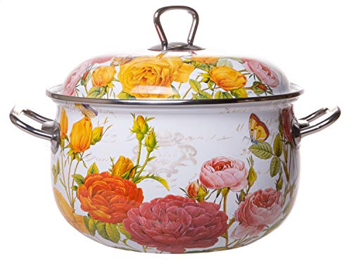 Floral Dish Casserole - Enamel On Steel Round Covered Stockpot, Pasta Stock Stew Soup Casserole Dish with Lid, Up to 4 Quarts - 20 cm (Roses)