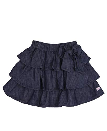 RuffleButts Little Girls Ruffled Denim Bow Skirt - 4T (Skirt Denim 4t)