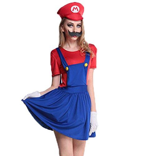 Blugibedramsh Womens Super Mario Skirt Halloween Cosplay Adult (Super Mario Costume For Women)