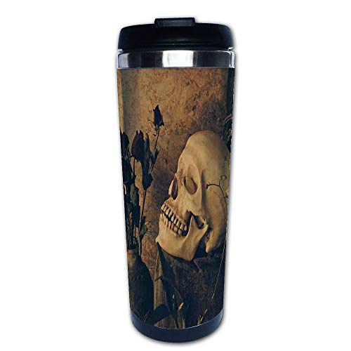 Stainless Steel Insulated Coffee Travel Mug,Dried Roses in the Vase Grunge Style Bourgeois,Spill Proof Flip Lid Insulated Coffee cup Keeps Hot or Cold 13.6oz(400 ml) Customizable printing