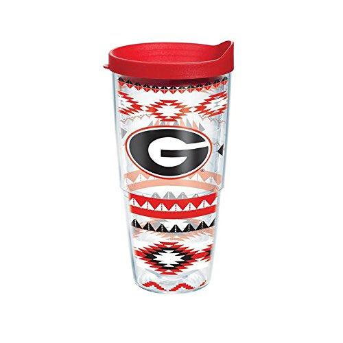 [Tervis Tumbler Georgia Bulldogs Aztec Stripes Wrap 24oz with Travel Lid] (Georgia Stripe)