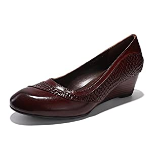 Mona Flying Women's Genuine Leather Wedges Shoes For Women Office Med Heels Vintage Dress Shoes Pumps