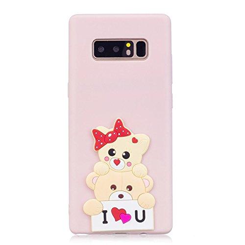 Funda Samsung Note 8 Silicona, Carcasas Galaxy Note 8 Case Cover Dibujos Animados Flexible TPU Opaco Ultra Delgado Ultra Ligero Goma Caja Suave Gel Shock-Absorción,Anti-Arañazos y Anti-Choque Bumper P Oso lindo