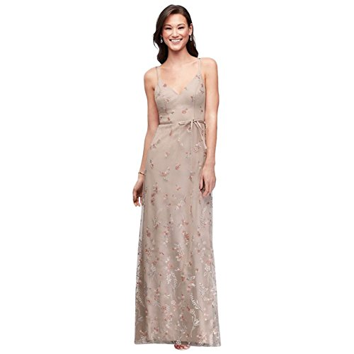 Floral Embroidered Tank Bridesmaid Dress Style F19797V, Biscotti, 0 ()