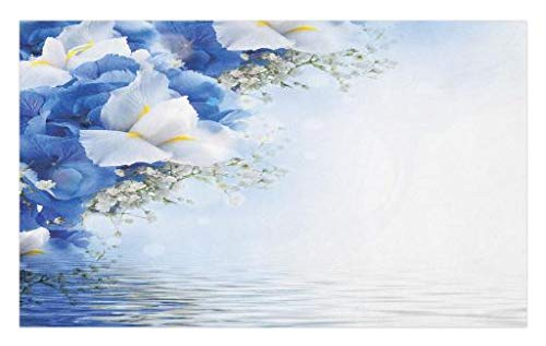 Dreamy Hydrangea (Lunarable Blue and White Doormat, Blue Hydrangeas and White Irises Over The Sea Romantic Bouquet Dreamy, Decorative Polyester Floor Mat with Non-Skid Backing, 30 W X 18 L inches, Blue White Yellow)