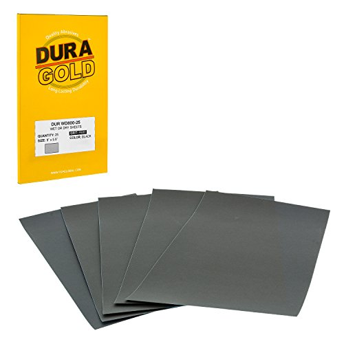 Dura-Gold - Premium - Wet or Dry - 800 Grit - Professional cut to 5-1/2 x 9 Sheets - Color Sanding and Polishing for Automotive and Woodworking - Box of 25 Sandpaper Finishing Sheets