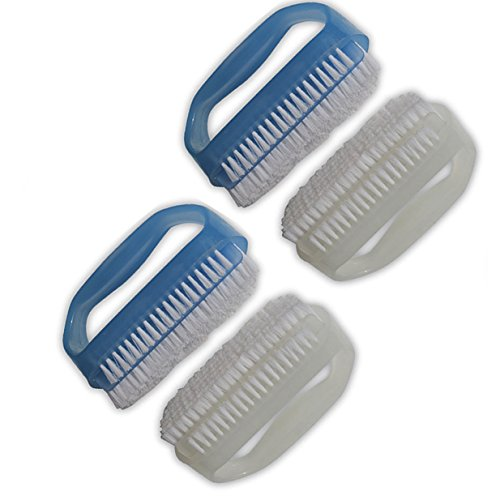 NewFerU Hand Finger Nail Scrub Brush Cleaner Blue and White for Deep Cleaning With Cuticle Remover Tool Set Pack of 4 by NewFerU