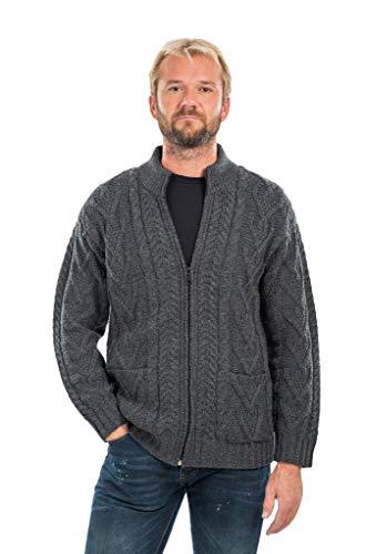 Mens Zipper Cardigan (Charcoal, XLarge) (Wool Irish Sweater Cardigan)