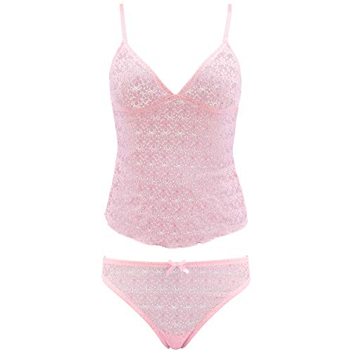 (Curve Muse Women's Lingerie Sexy Lace Camisole Tank Top with Thong Pajama Set Pack of 1-Pink-S)