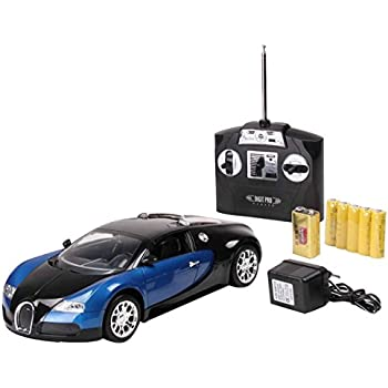 Safstar Blue 1/14 4CH Radio Remote Control Bugatti Model Car with Light (Batteries and Charger Included)