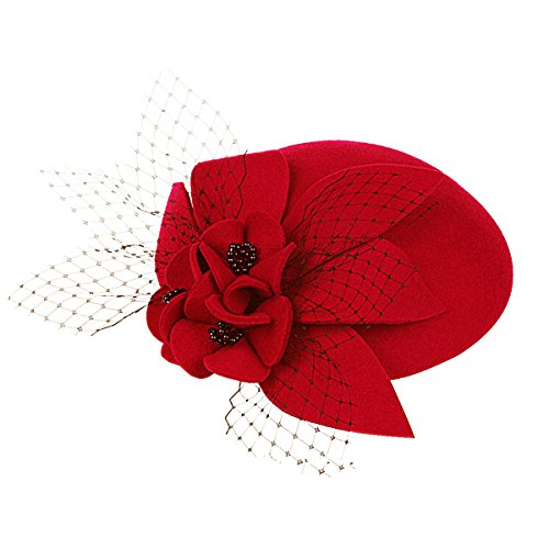 Womens Ladies Socialite Flower Black Pearl Wool Felt Fascinator Pillbox Tilt Hat A044 (Red)