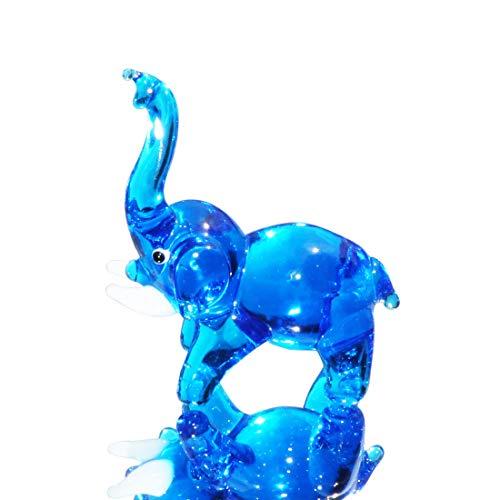 (Waltz&F Light Blue Elephant Figurine Mini Animal Collectible Statue Art Glass Miniature Animals Collection, Dollhouse Miniatures,Size Approx 2.4