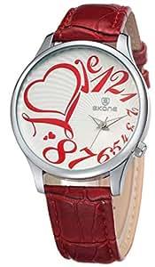 Women Fashion Analog Red Dial Wristwatches-sk9152