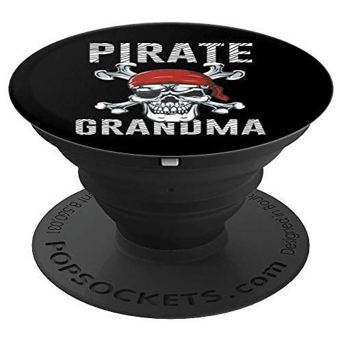 Pirate Grandma Art | Mom Skull Crossbones Flag Halloween - PopSockets Grip and Stand for Phones and Tablets -
